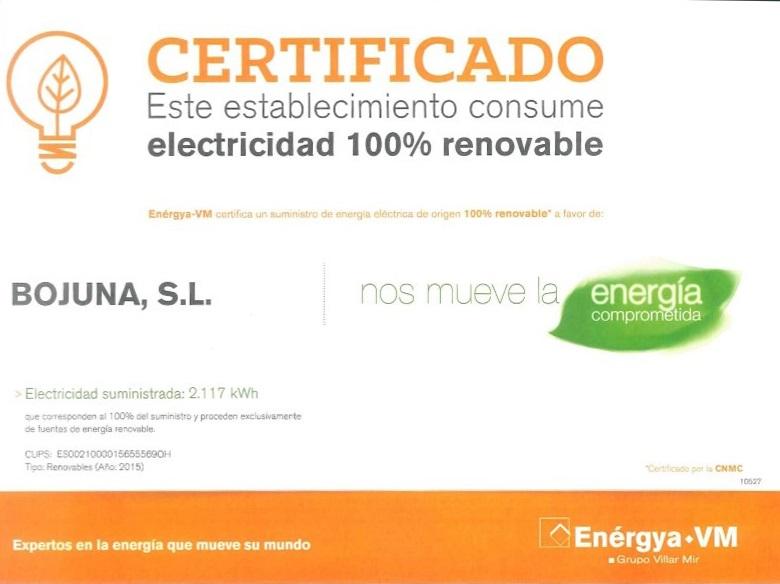 certificado electricidad renovable